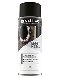 Peinture aérosol Effet métal NOIR BRILLANT 400ml