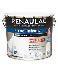 Peinture Blanc intérieur Murs et Plafonds Monocouche BLANC MAT 10 L